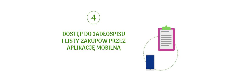 Dostęp do jadłospisu i listy zakupów przez aplikacje mobilną